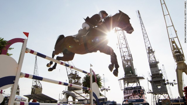 Germany's Marcus Ehning and horse Sabrina compete at the Global Champions Tour of Antwerp in Belgium in April.