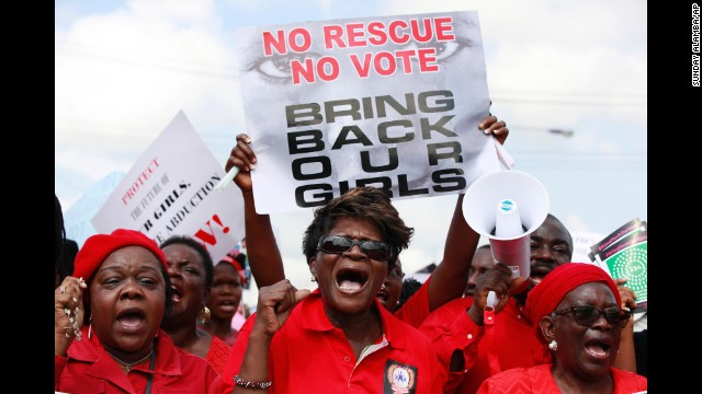 Women march Monday, May 5, in Chibok.