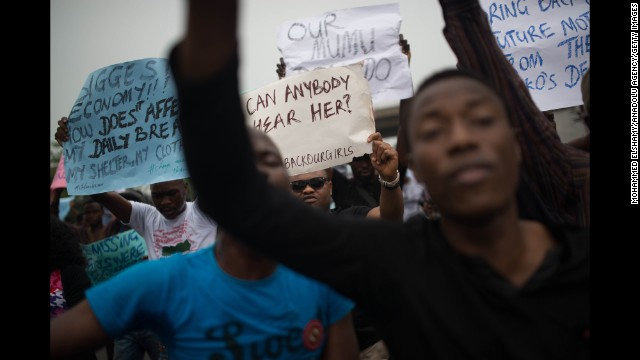 People rally in Lagos, Nigeria, on Thursday, May 1.
