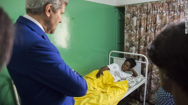 Kerry visits patients at the Fistula Clinic at St. Joseph's Hospital in Kinshasa, Congo, on Sunday, May 4.