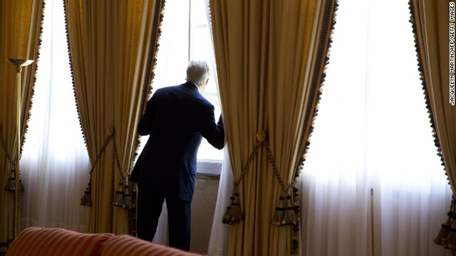 Kerry looks out a window moments before meeting with Algerian President Abdelaziz Bouteflika in Zeralda, Algeria, in April.