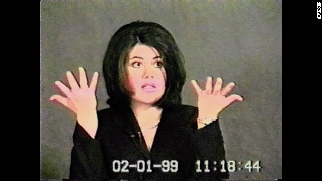 Lewinsky gestures during her deposition in a video shown during Clinton's impeachment trial in 1999.