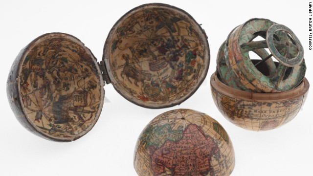 This pocket globe, from around 1715, is less than three inches across.