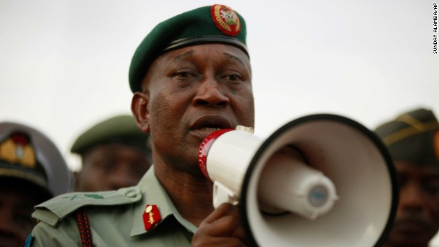 Brig. Gen. Chris Olukolade, Nigeria's top military spokesman, speaks to people at a demonstration on May 6.