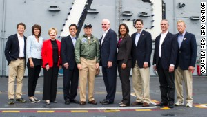 A GOP congressional delegation aboard the aircraft carrier USS George Washington at a U.S. naval base in Japan.