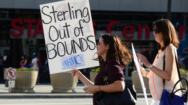 Protesters outside the Staples Center prior to Game 5 of the NBA playoff game between the Los Angeles Clippers and the Golden State Warriors.
