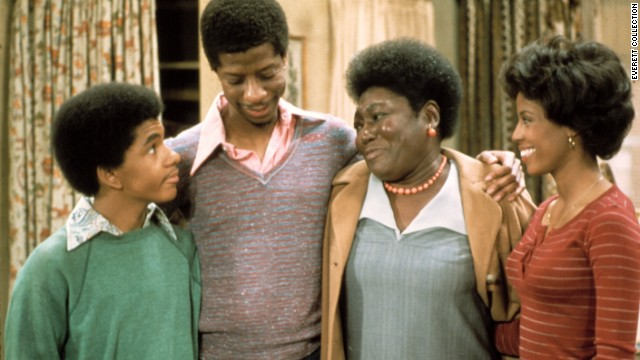 """Good Times' "" Florida Evans (Esther Rolle, third from left) provided a lot of love and discipline to her children, Michael, J.J. and Thelma (Ralph Carter, left, Jimmie Walker and BernNadette Stanis)."