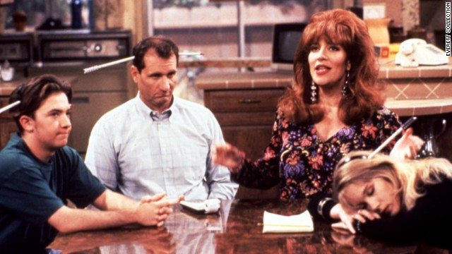 "Peggy Bundy of ""Married ... With Children"" (Katey Sagal, second from right) was blowzy and materialistic, but she would stand with her family when threatened. Son Bud (David Faustino), husband Al (Ed O'Neill) and daughter Kelly (Christina Applegate) were usually firmly behind her."