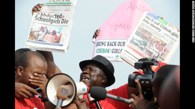 Abuja Hosea Sambido, a leader in the Chibok community, speaks during a rally in Abuja, Nigeria, on May 6, pressing for the release of the abducted girls.