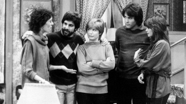 """One Day at a Time"" featured a divorced single mother, a rarity on television in the 1970s. Ann Romano (Bonnie Franklin, center) handled two daughters (played by Mackenzie Phillips, left, and Valerie Bertinelli, right), their mixed-up lives (including husbands Michael Lembeck and Boyd Gaines) and a wacky super played by Pat Harrington."