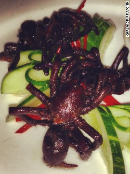 "Making fried tarantulas look appetizing isn't easy. These little beauties were served at a Phnom Penh restaurant. ""I don't take pics of what I eat,"" says SAT co-founder Jeffrey Max. ""I know better."""