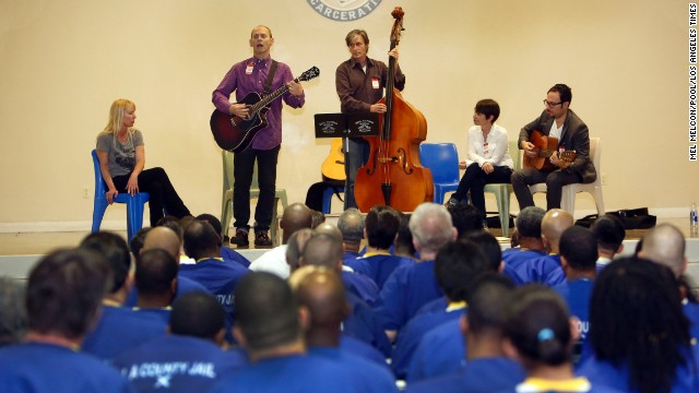 Cody Marks, Wayne Kramer, Walter Spencer, Adele Bertei, and Mike de la Rocha perform for general population inmates during a kick off event for Jail Guitar Doors at the Men's Central Jail in Downtown Los Angeles on May 5.