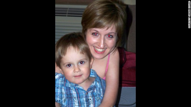 Kovac with her son in Omaha, Nebraska, in 2012. She says her own struggle has helped her teach her children resilience.