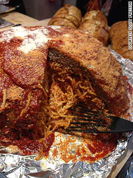 "A group of friends got together for an annual dinner party and decided to make this monstrosity -- a giant meat bowl filled with spaghetti, tomato sauce and cheese. ""It fed about 15 people for days,"" says the photographer."