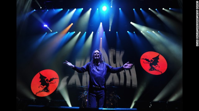Black Sabbath emerged in 1969, and become one of the leading proponents of heavy metal music. The band -- whose front man, Ozzy Osbourne, became known as the Prince of Darkness -- was critically snubbed but sold more than 8 million albums before Osbourne went solo in 1979. Osbourne and other band members then played together intermittently through the 1990s and 2000s, and were inducted into the UK Music Hall of Fame in 2005. They joined the U.S. Rock and Roll Hall of Fame the following year. Here, Osbourne performs onstage at the Barclays Center of Brooklyn on March 31, 2014 in New York City.