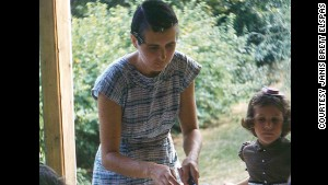 Janis Brett Elspas with her mom in 1961 at an \