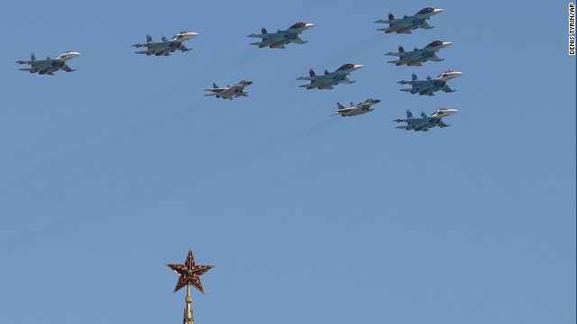 Russian Air Force fighter jets fly over Red Square in Moscow.