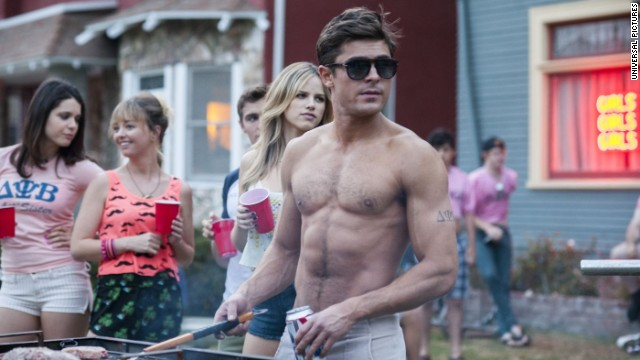Zac Efron is sometimes shirtless in his frat-life comedy with Seth Rogen,