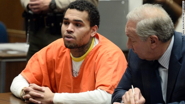 <strong>May 2014: </strong><a href='http://www.cnn.com/2014/05/09/showbiz/chris-brown-jail/index.html' target='_blank'>Brown appears in court</a> for a probation violation hearing on May 9. He admitted to violating his probation and was ordered by a judge to serve one year in jail.