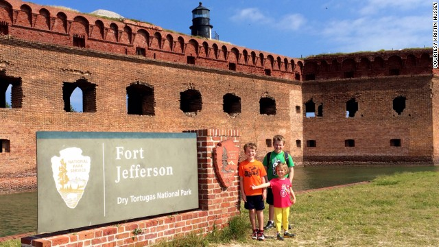Hussey's family spent a night camping at the remote Dry Tortugas National Park, about 68 miles off the coast of Key West. While visiting, Hussey's children learned that conspirators in Abraham Lincoln's death were imprisoned there in the Civi