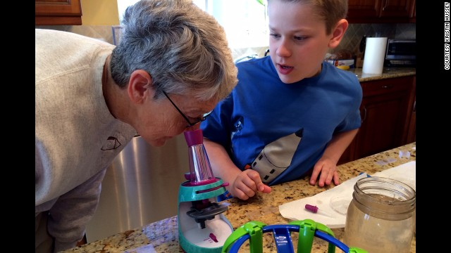 Hussey's aunt, retired biology teacher Diane Doyle, spent two weeks visiting Florida and leading science projects for Hussey's children. When their experiments were complete, they held a small science fair to show off their work.