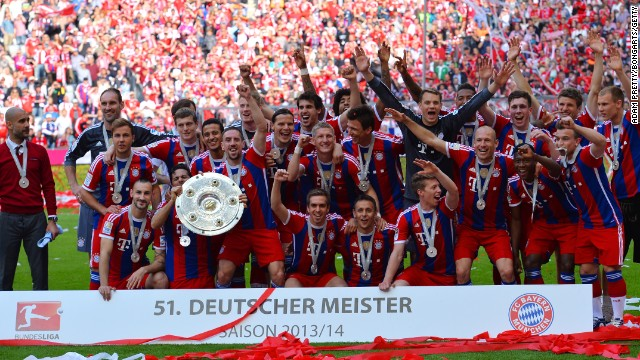 The Bayern squad show off the Bundesliga shield after a 1-0 win over Stuttgart at the Allianz Arena.