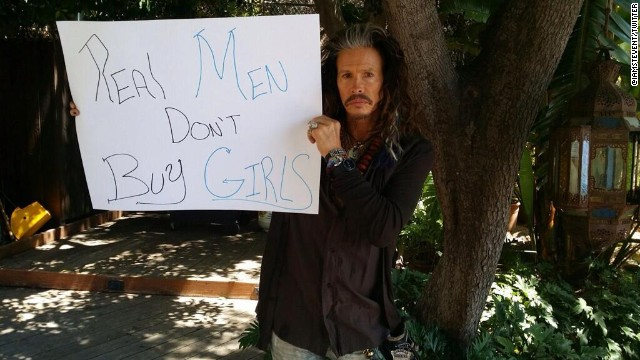 Singer Steven Tyler posted this image on both his Twitter and Instagram accounts alonth with the hashtag #RealMenDontBuyGirls.