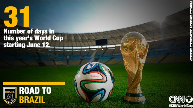 Starting on June 12, the 2014 FIFA World Cup will span 31 days with 64 matches culminating in the final at the open-air Maracana Stadium in the country's capital on July 13.