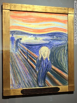 "Expressionist artist Edvard Munch created a series of paintings and pastels between 1893 and 1910 which he named <i>Der Schrei der Natur</i> (The Scream of Nature). Now popularly known as ""The Scream,"" the works show a figure with an agonized expression against a landscape with a tumultuous orange sky. This piece, painted by Munch in 1895, was sold in May 2012 for $119.9 million at Sotheby's, New York."