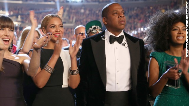 In May, Beyonce found herself literally caught between her husband, Jay-Z, and sister, Solange Knowles (far right, with the Carters and actress Jessica Biel). A video of an alleged fight between the rapper and his sister-in-law has surfaced online, marking a rare dark moment in Beyonce's otherwise golden life and career.