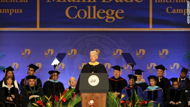 The vice president of the United States gives the commencement addresses at Miami-Dade College on May 3. He later spoke at the University of South Carolina on May 9 and his alma mater, the University of Delaware, on May 31.<!-- --> </br>
