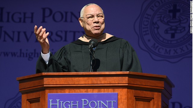 Gen. Colin Powell, the former secretary of state and chairman of the Joint Chiefs of Staff, delivers the commencement speech at High Point University in North Carolina on May 3.