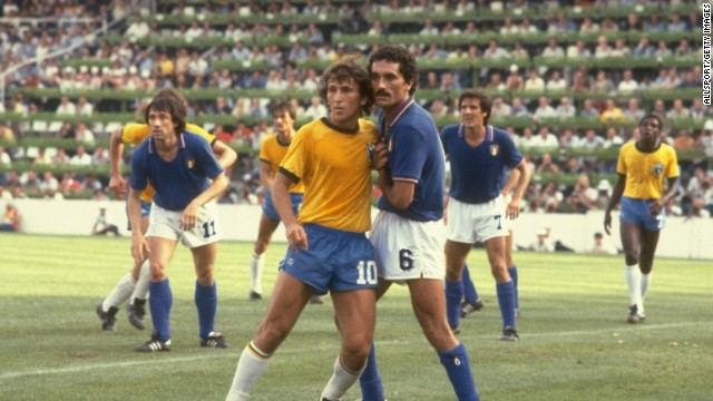 Italy's contest with Brazil at the 1982 World Cup is considered one of the greatest games in the tournament's history. A Paolo Rossi hat-trick ensured Italy won the second round match 3-2 and deprived Brazil a place in the semifinals. Instead, Italy went on to defeat West Germany 3-1 in the final with Rossi on target once again.<!-- --> </br>