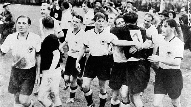 West Germany's 3-2 victory over Hungary in the 1954 World Cup final is known as 'the Miracle of Bern.' The Hungarian side, which had gone 32 games unbeaten and had won gold at the Olympics two years earlier, led 2-0 after just eight minutes. But the Germans fought back, scoring twice before the interval to level the game. It was then left to Helmut Rahn to net the winner late on.<!-- --> </br><!-- --> </br>