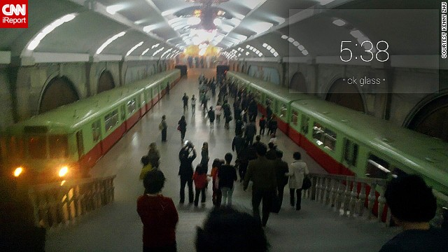 Zhu also recorded two videos from the Pyongyang metro station. The short clips can be viewed on his original<a href='http://ireport.cnn.com/docs/DOC-1130606'> iReport submission: North Korea..through Google Glass</a>.