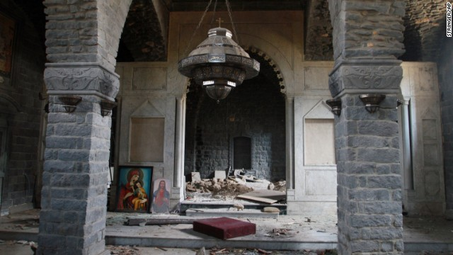 Damage is seen inside the Um al-Zinar church in the Old City on May 9.