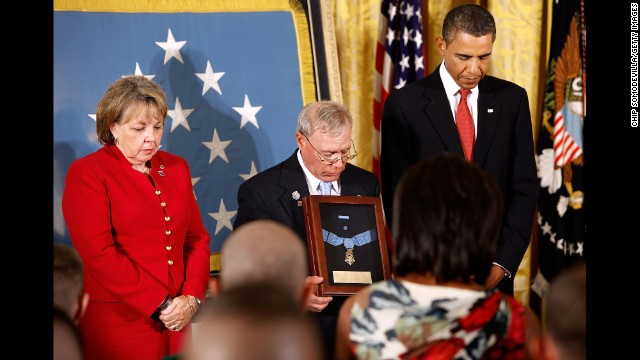 Paul and Janet Monti receive the Medal of Honor for their son, Army Sgt. First Class Jared C. Monti, on September 17, 2009. Monti was killed June 21, 2006, in Nuristan province, Afghanistan, while attempting to rescue one of his fellow soldiers and fighting off an attack from insurgents.