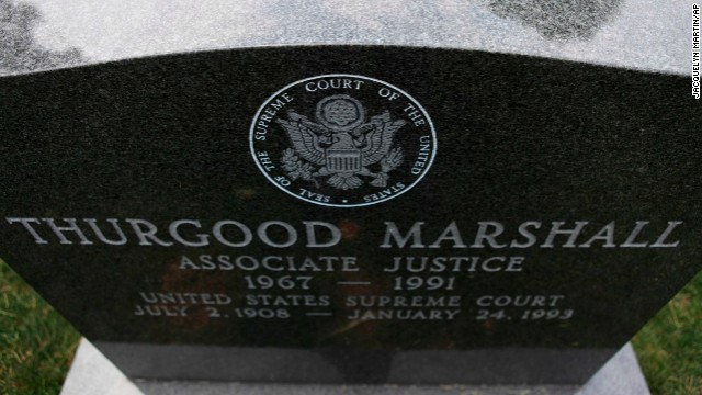 The grave of Supreme Court Justice Thurgood Marshall is seen in Section Five, where many former justices are buried.
