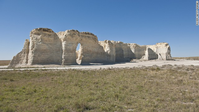 The so-called Chalk Monuments, a National Natural Landmark, were formed millions of years ago on the High Plains of western Kansas.