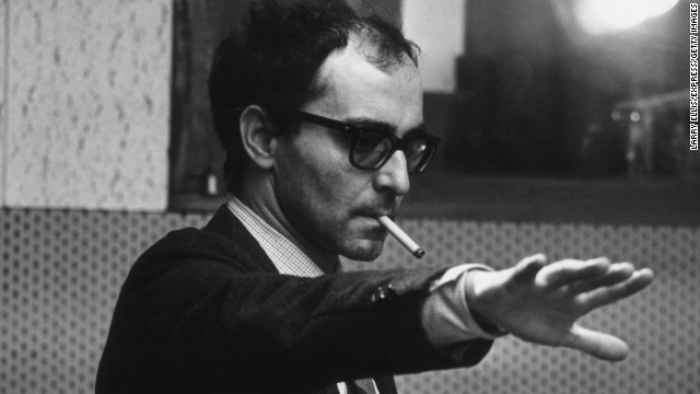 Jean-Luc Godard pictured during the filming of