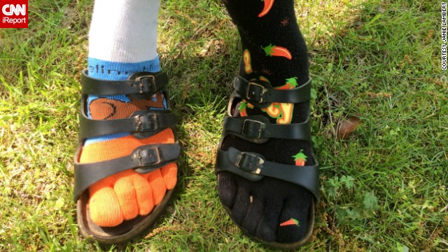 "Birkenstocks might be trendy this season, but as far as <a href='http://ireport.cnn.com/people/Ryn'>Janie Lambert</a> is concerned they've always been the perfect shoe. ""There's nothing pretty or cute about my very old Birkenstocks, but we have been through a lot together,"" said Lambert, 62. Her trademark look is a different funky sock on each foot. ""Hey, I am old now and can get away with it!"""
