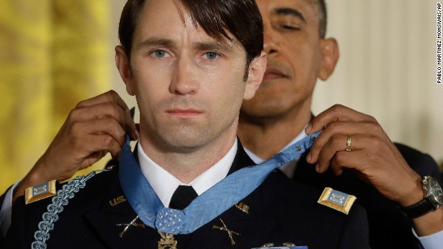 "President Obama gives former Army Capt. William Swenson the Medal of Honor during a White House ceremony on October 15, 2013. Swenson was cited for ""his exceptional leadership and stout resistance against the enemy during six hours of continuous fighting"" in 2009, according to the Army."