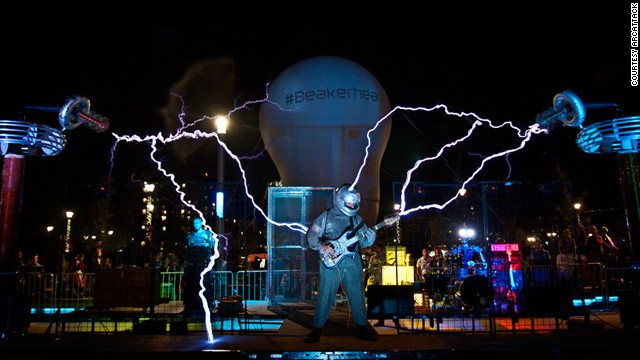 "Tesla coil music: <a href='http://www.arcattack.com/' target='_blank'>ArcAttack</a>'s performances use two custom built ""singing"" Tesla coils, which have been hacked to produce tones when creator Joe DiPrima modulates the current."