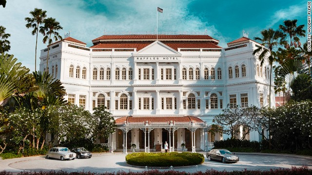 The tour includes a relatively downmarket fifty-buck Gin Sling at Raffles Hotel, Singapore.