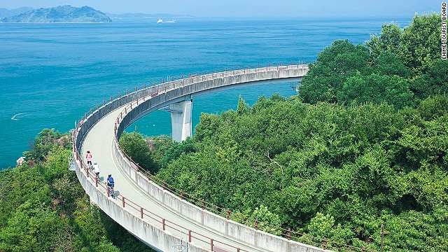 Built for gentle meandering, this track snakes across a series of small, scenic islands in Hiroshima prefecture, in the west of Japan. At just more than 40 miles long, it's possible to complete in a day.
