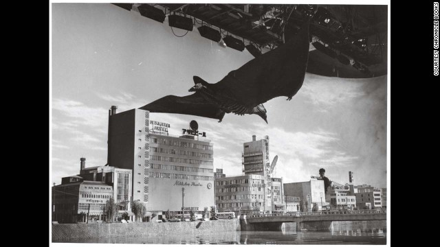 "Rodan descends upon Fukuoka City in 1956's ""Rodan."" Since the title beast was a flying monster, Tsuburaya's crew had the opportunity to build more intricate and elaborate cityscapes than they had for ""Godzilla."""