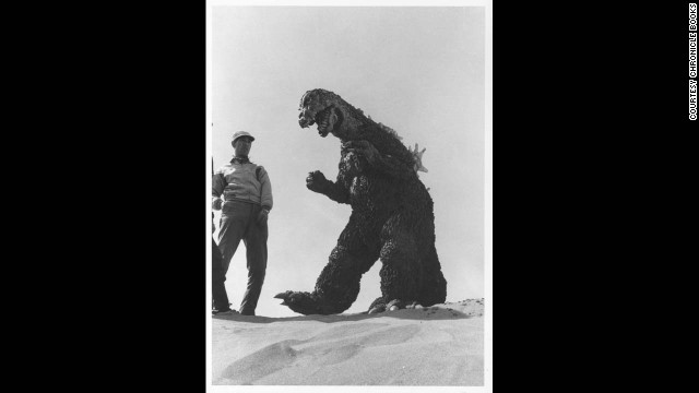 "Godzila on the beach, shooting a scene for the U.S. version of 1964's ""Mothra vs. Godzilla."""
