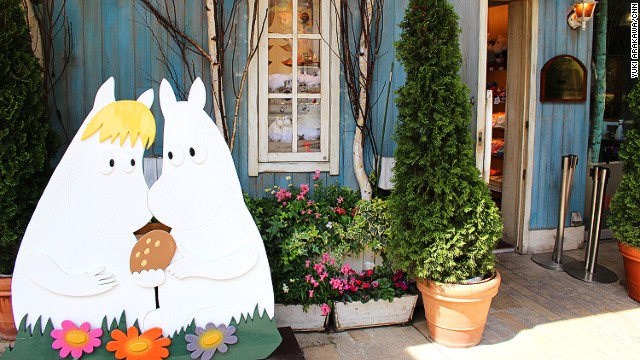 The cafe features a family of Finnish hippo-like characters called Moomins who live in Moomin Valley and embark on various adventures with their friends.