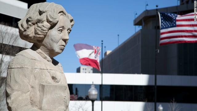 A statue of Eudora Welty stands in downtown Jackson. The Pulitzer Prize-winning author was born in the city. She died in 2001 at age 92.