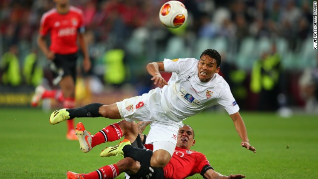 Sevilla forward Carlos Bacca is a livewire for the Spanish side in the Europa League final but he can only watch as several chances sail past.